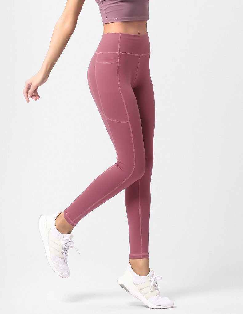 Women's leggings with pockets, fitness quick-drying hip pants.JK01
