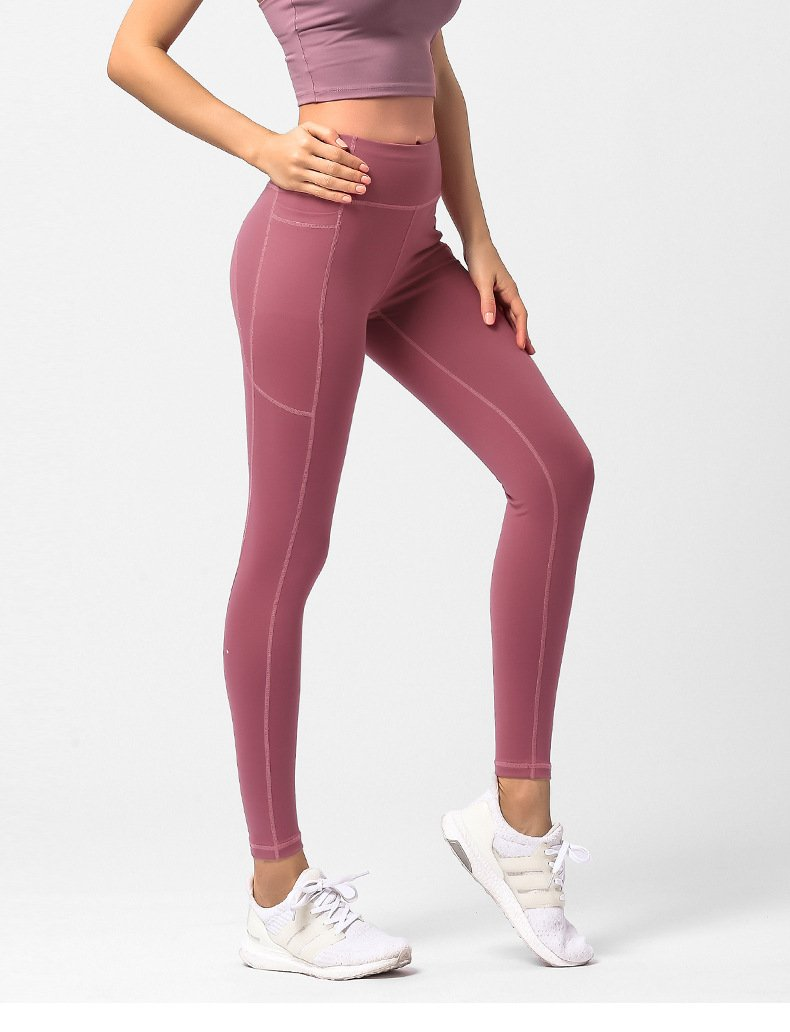 Women's leggings with pockets, fitness quick-drying hip pants.JK01 model 004